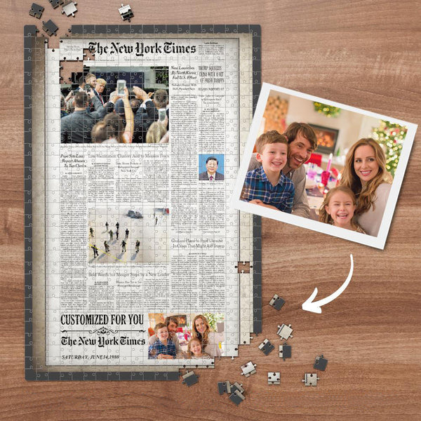 The New York Times Custom Photo Puzzle Vintage News Paper Puzzle Personalized From A Specific Date 300-1000 Pieces