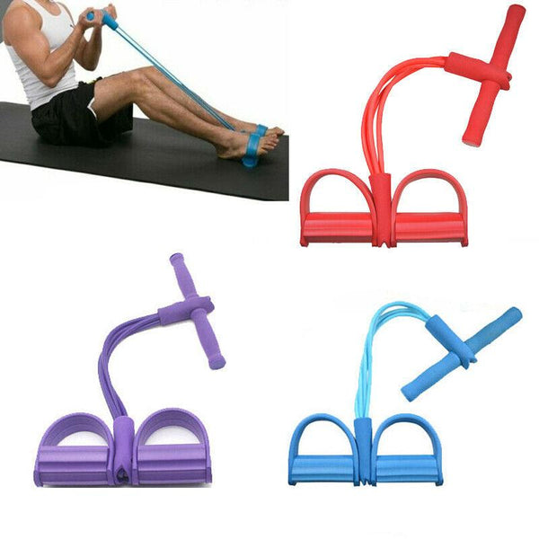 Yoga Ankle Puller Sit Up Mat Pull Rope Foot Pedal Exerciser Fitness Equipment