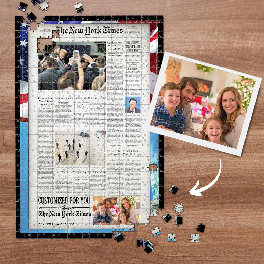 The New York Times Custom Photo Puzzle News Paper Puzzle Personalized From A Specific Date US Flag 300-1000 Pieces