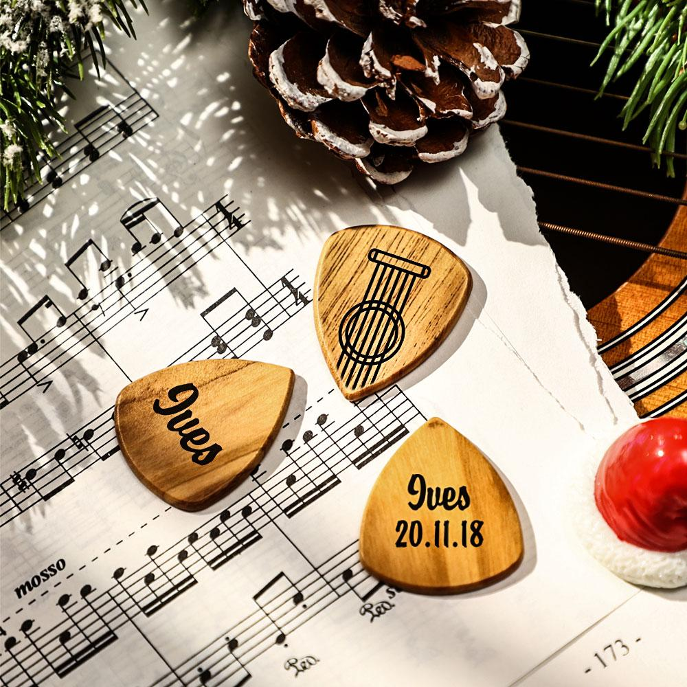 Customizable Wooden Guitar Picks, Custom Guitar Picks with Case, Personalized 3PCS Wooden Guitar Pics