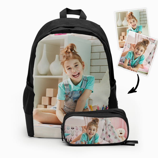 Custom photo backpack for kids, Back to school gift, Personalized backpack and pencil case set