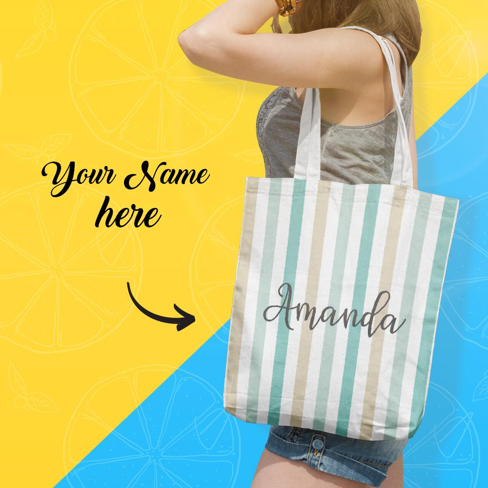 Custom Shopping Bag With Your Name, Personalized Storage Handbag