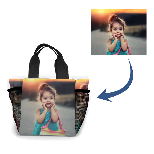Personalized photo Hand bag, Customized Lunch Bag