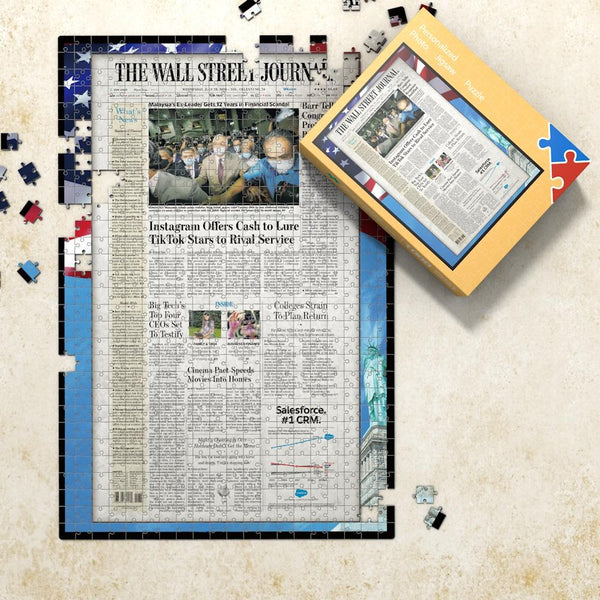 The WALL STREET JOURNAL Front Page Jigsaw Puzzle Newspaper Puzzle Personalized From A Specific Date Your Memory Day Puzzle - US flag frame