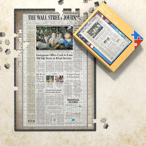 The WALL STREET JOURNAL Front Page Jigsaw Puzzle Old Newspaper Puzzle Personalized From A Specific Date Your Memory Day Puzzle