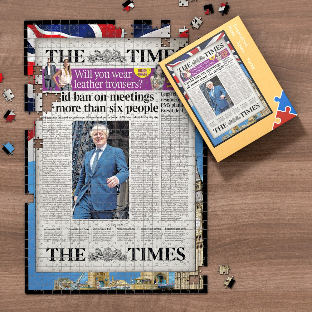 The Times Front Page Jigsaw Puzzle, Personalized From A Specific Date You Were Born Your Memorial Day, Birthday Gift Idea-1000 Pieces Max