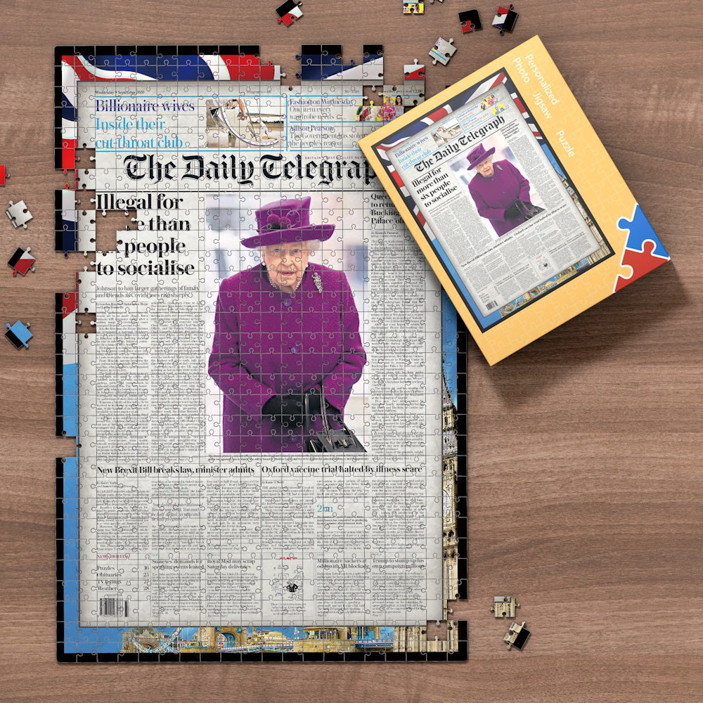 The Daily Telegraph Front Page Jigsaw Puzzle, Personalized From A Specific Date You Were Born Your Memorial Day, Birthday Gift Idea-1000 Pieces Max
