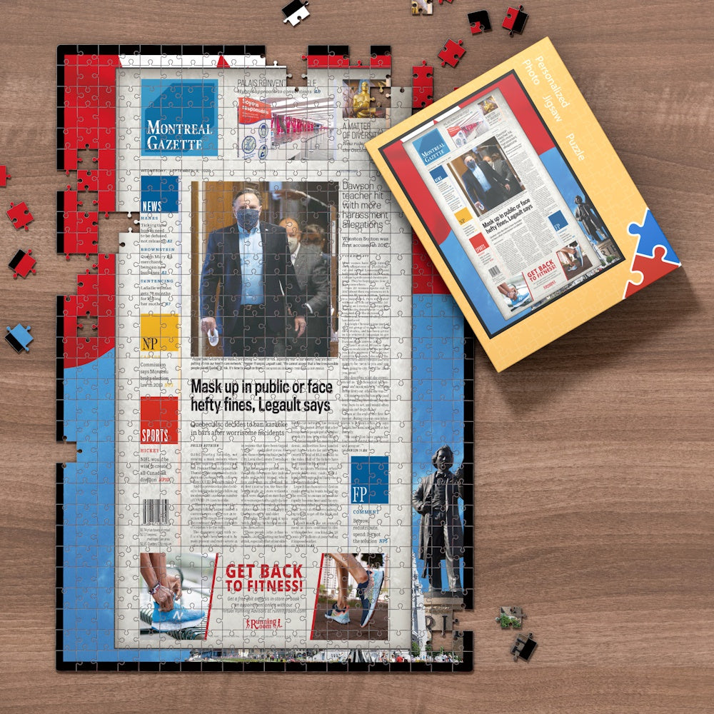 Montreal Gazette Front Page Jigsaw Puzzle, Personalized From A Specific Date You Were Born Your Memorial Day, Birthday Gift Idea-1000 Pieces Max