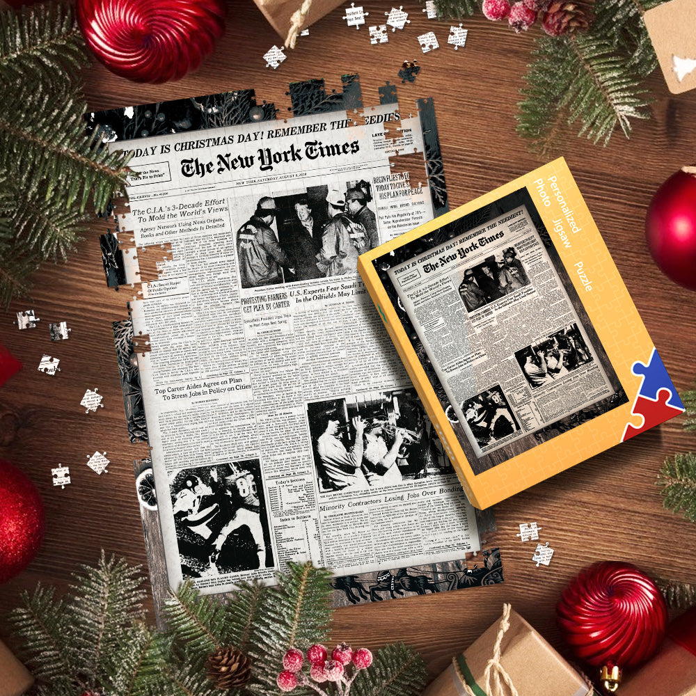 The Dec.25th New York Times Front Page Christmas Day Puzzle Newspaper Birthday Puzzle