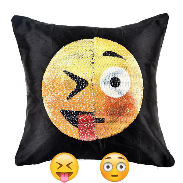"Emoji Fun Magic Sequin Pillow Change Face 15.75""*15.75"""