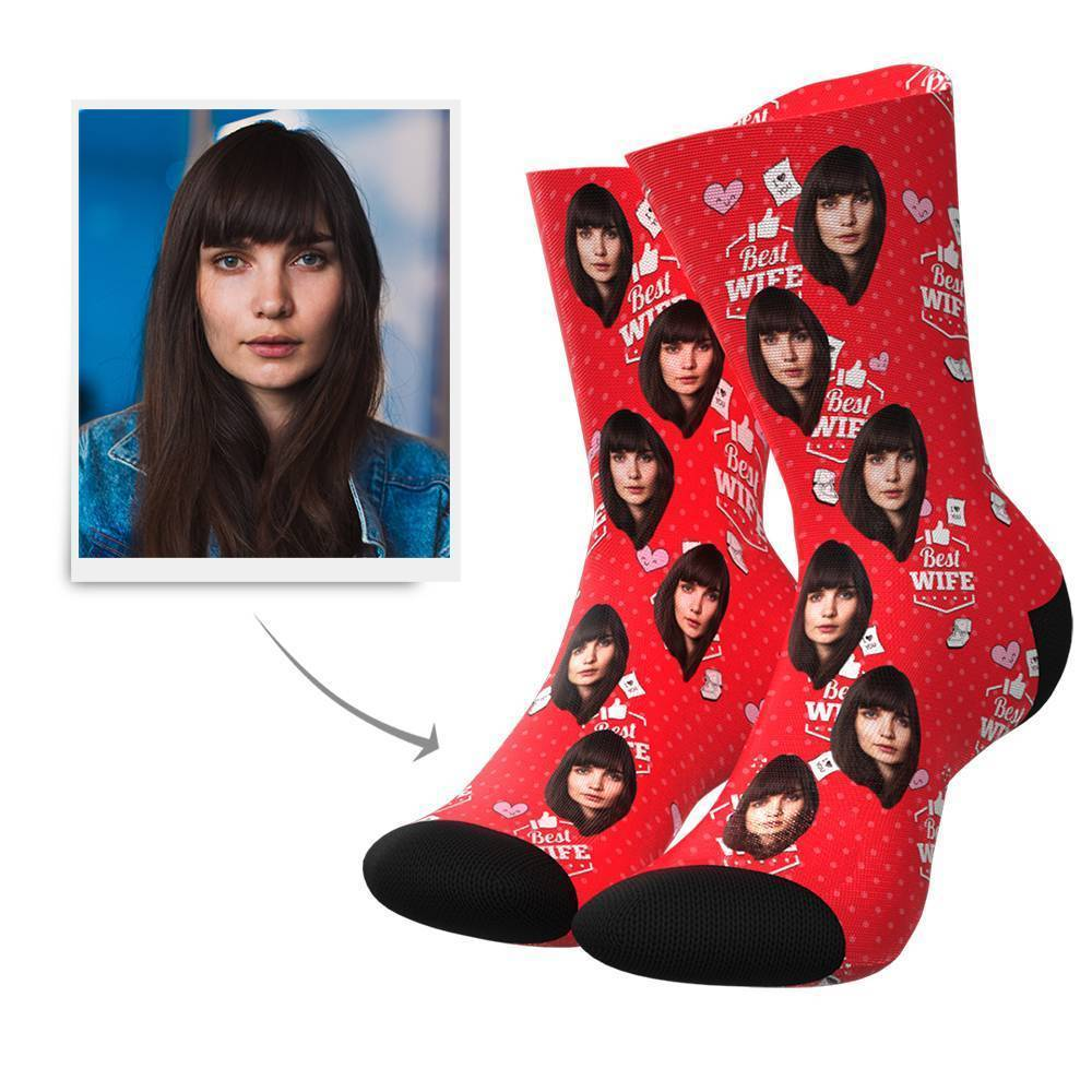 Best Wife Custom Face Socks - MyPhotoBags