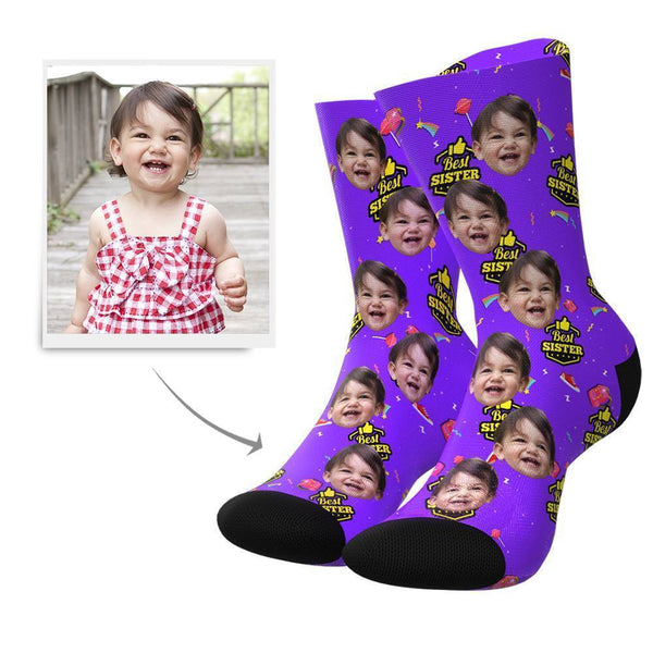 Best Sister Custom Face Socks - MyPhotoBags