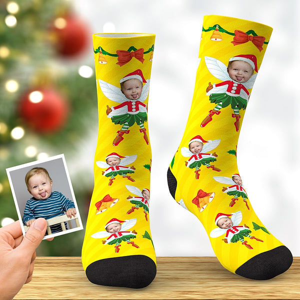 Custom Face Socks Personalized Christmas Elf Socks Christmas Gift Yellow