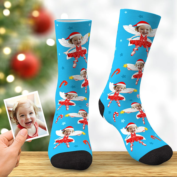 Custom Face Socks Personalized Christmas Elf Socks Christmas Gift Blue