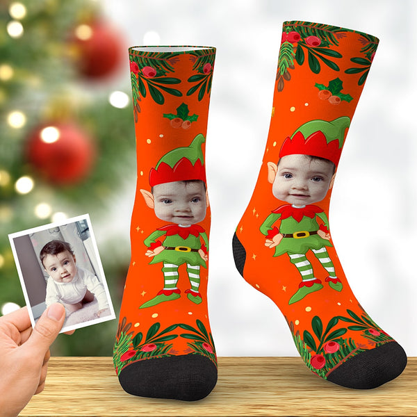 Custom Face Socks Personalized Christmas Elf Socks Christmas Gift Orange