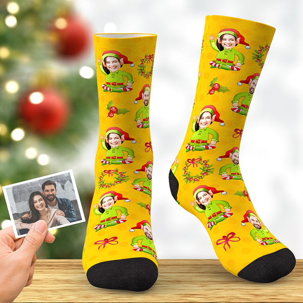 Custom Face Socks Personalized Christmas Elf Socks Christmas Gift for Sweetheart Yellow