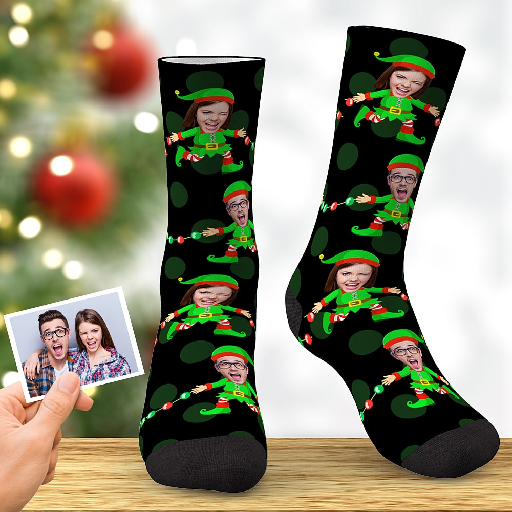 Custom Face Socks Personalized Christmas Elf Socks Christmas Gift for Sweetheart Black