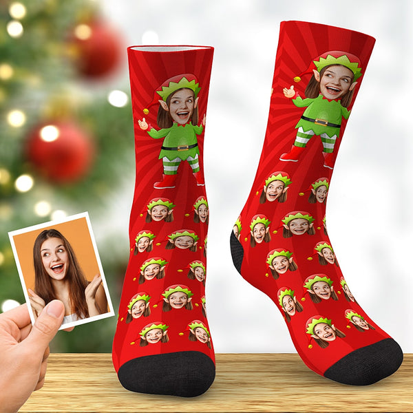 Custom Face Socks Personalized Christmas Elf Socks Christmas Gift Red