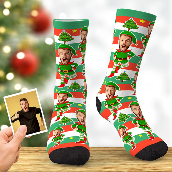 Custom Face Socks Personalized Christmas Elf Socks Christmas Gift Color Fringe