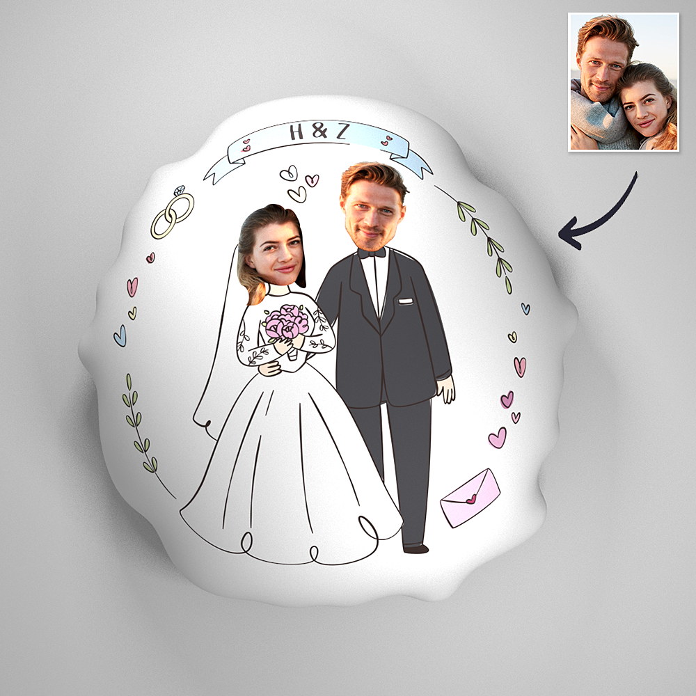 Romantic Wedding Couple Photo Comfortable Cute Pillow