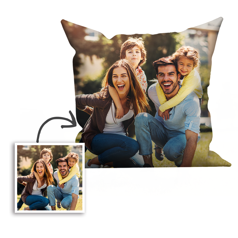 Custom Family Photo Throw Pillow