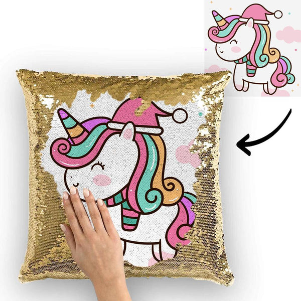 Unicorn Custom Photo Magic Sequins Pillow Multicolor Shiny 15.75''*15.75''
