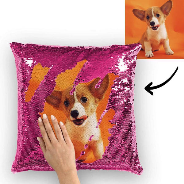 Custom Cute Dog Photo Magic Sequins Pillow Multicolor Shiny 15.75''*15.75''