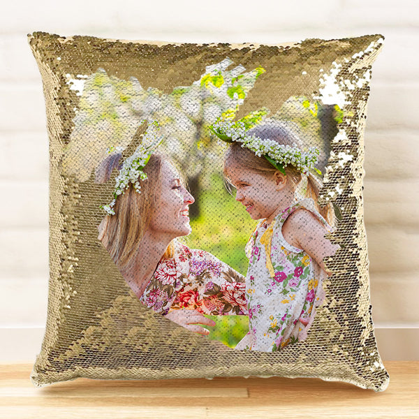 Custom Photo Magic Sequins Pillow, Sequin Picture Pillow, Glitter Pillow With Hidden Picture 15.75''*15.75'' Mother's Day Gift
