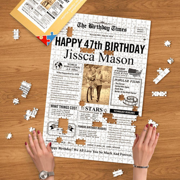 Custom Birthday Puzzle Historical Events of Specific Year Jigsaw Puzzle Personalized Photo & Text Perfect Gift for Birthday