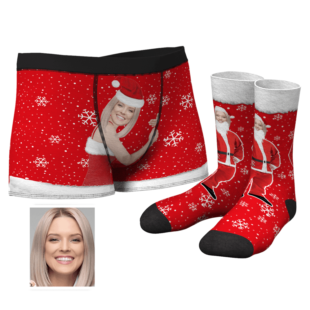 Men's Christmas Face on Body Boxers And Socks Set