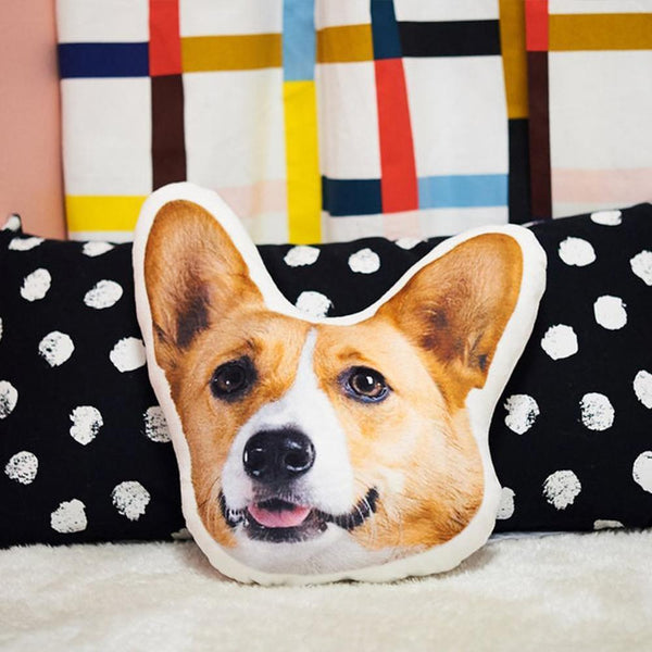 Custom Pet Portrait Face Pillow, Pet Shaped Pillow,  Best Gifts For Pet Owners