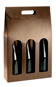 Couro carrier box for 3 bottles with window in leather (x25)