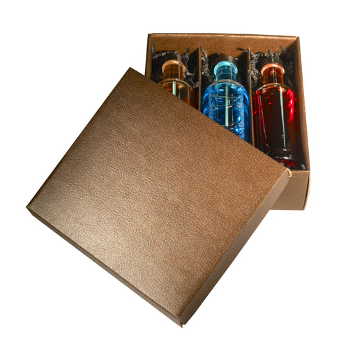 Couro gift box for 3 miniature bottles in gold (x25)