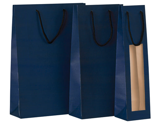 Paper carrier bag for 2 bottles in blue (x50)