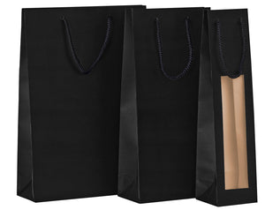Paper carrier bag for 3 bottles in black (x50)