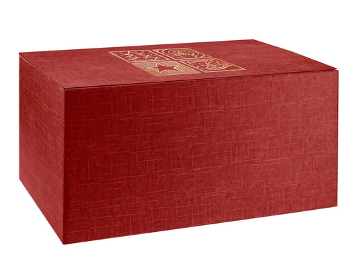 Scala large hamper box with Christmas print in red (x10)