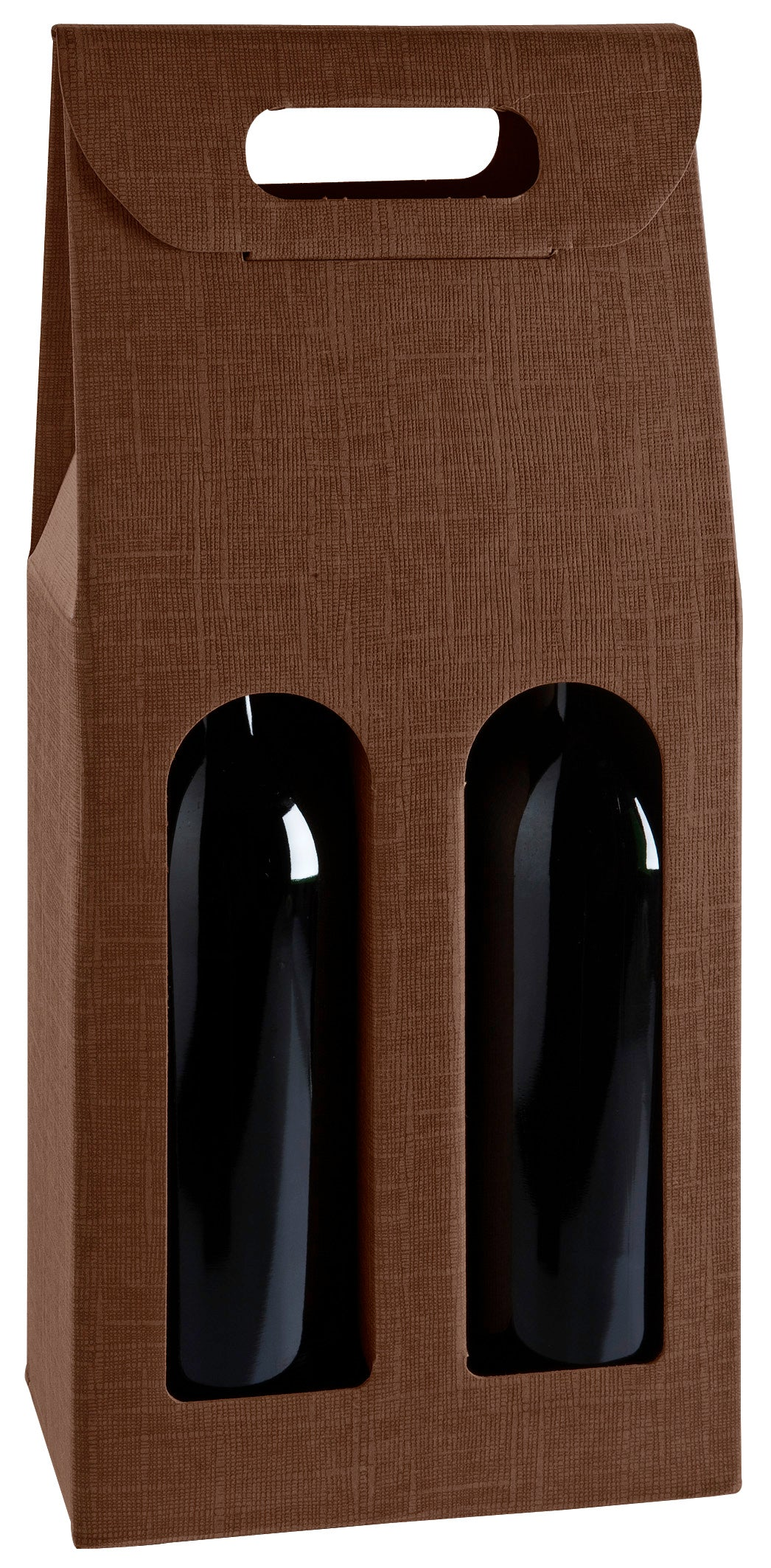 Scala carrier box with window for 2 bottles in brown (x25)