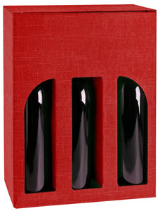 Scala carrier box with window for 3 bottles in red (x25)