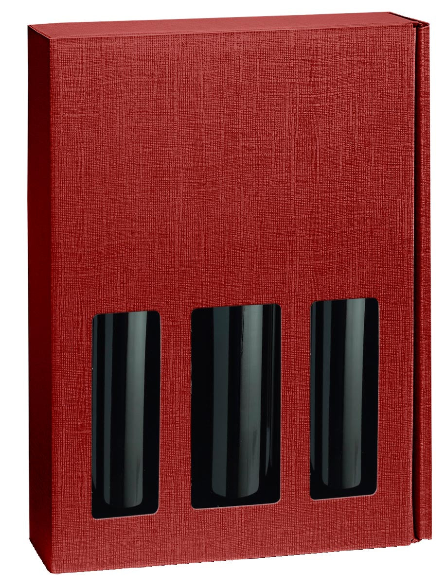 Scala strong box with window for 3 bottles in red (x25)