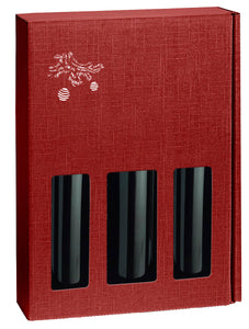 Scala strong box with window for 3 bottles with Christmas print in red (x25)