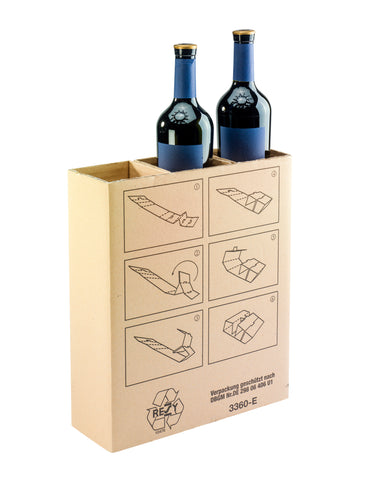Inlay for transit packaging for 3 bottles (x30)