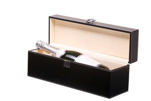 Leather look case for 1 champagne bottle, black with beige interior (x6)