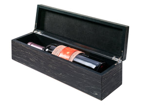 Wood look gift box for 1 bottle in black (x6)
