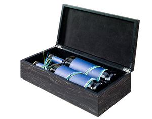 Wood look gift box for 2 bottles in black (x6)