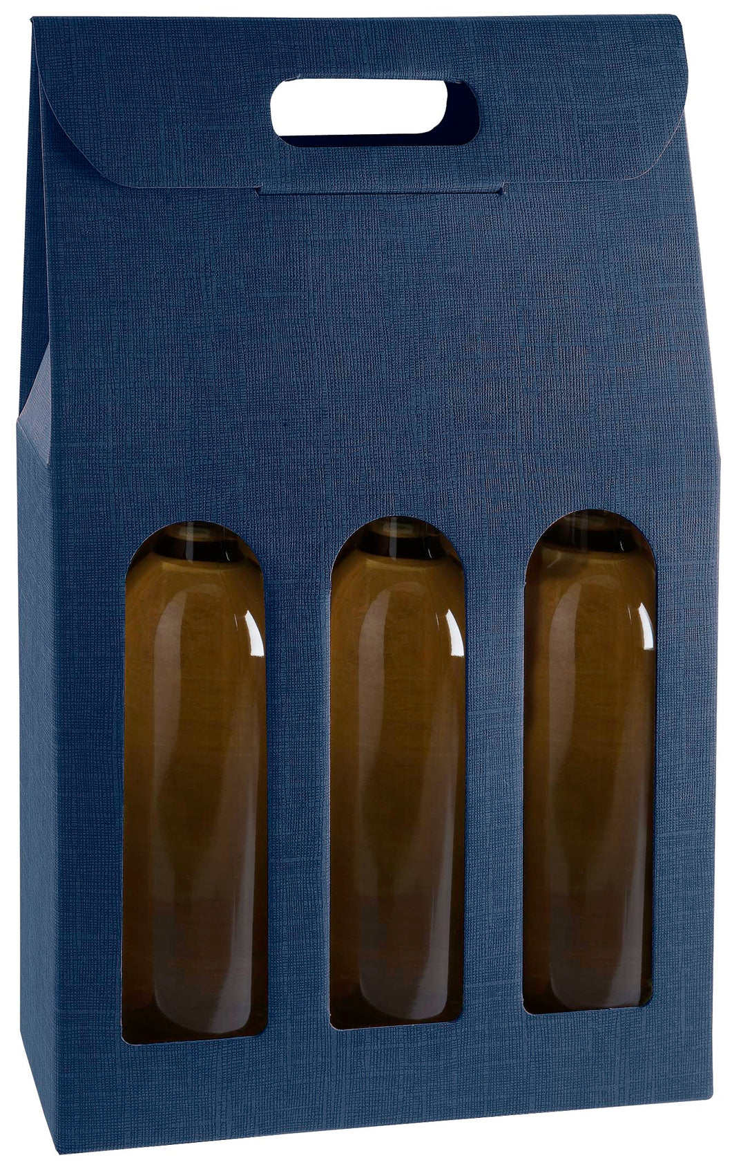 Scala carrier gift box with window for 3 bottles in blue (x25)