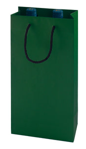 Paper carrier bag for 2 bottles in green (x50)