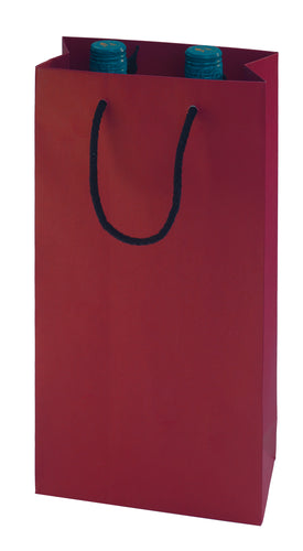 Paper carrier bag for 2 bottles in red (x50)