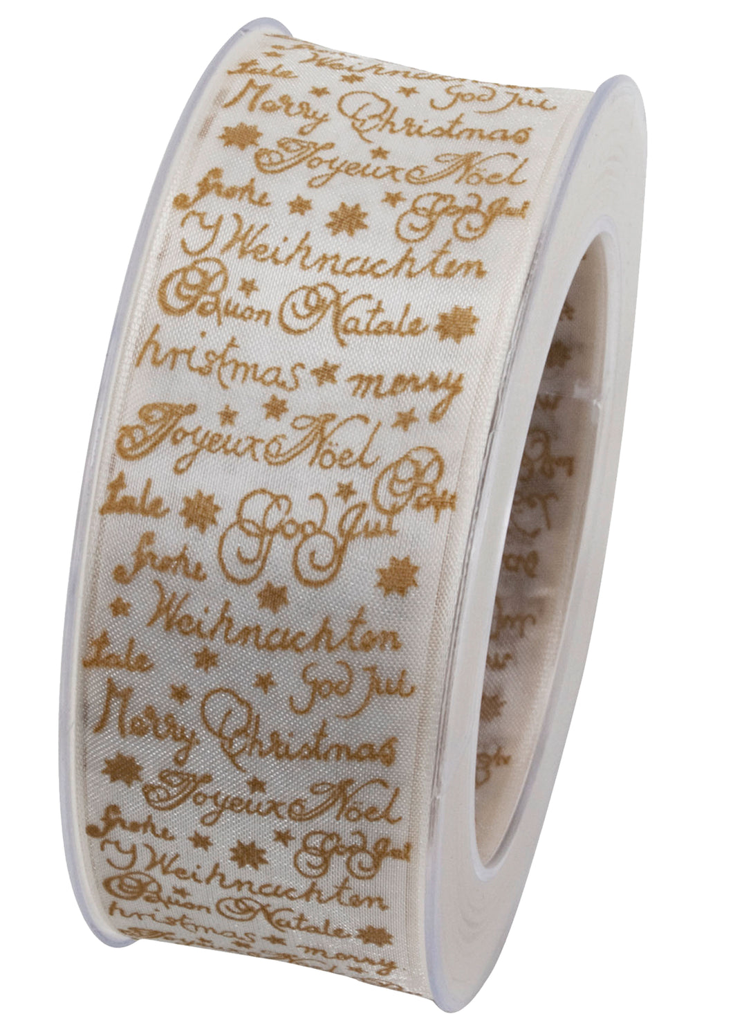 X-Mas Story ribbon in white and ivory, 20m x 40mm (x2)