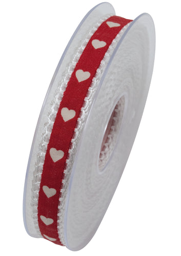 Mini hearts ribbon in red (x2)