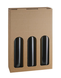 Kraft carrier box with window for 3 bottles in beige (x50)